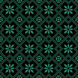 Antique seamless green background check cross rhomb flower Royalty Free Stock Photography