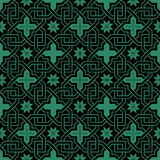 Antique seamless green background cross chain star flower Royalty Free Stock Image