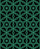 Antique seamless green background  Islamic cross polygon star Stock Photography