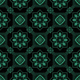 Antique seamless green background octagon square frame Royalty Free Stock Photography