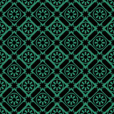 Antique seamless green background round flower star check Royalty Free Stock Photos