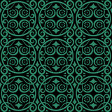 Antique seamless green background round spiral flower vine Royalty Free Stock Images