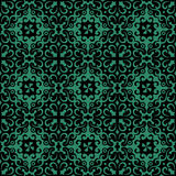 Antique seamless green background spiral round vine kaleidoscope Royalty Free Stock Images