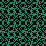 Antique seamless green background vine square spiral flower Royalty Free Stock Images