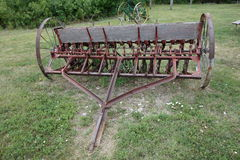 An antique seeder in south dakota Stock Photo