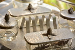 Antique serving dishes Royalty Free Stock Images