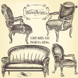 Antique set of vector hand drawn chairs Stock Image