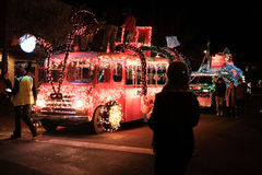 Antique Seuss-themed milk truck prepares for Holiday Parade. Corvallis, OR, Nov 28, 2015: Antique milk truck decked out in Seuss-themed lights prepares for Royalty Free Stock Image