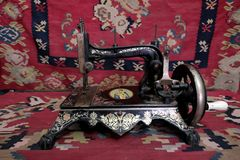 Antique Sewing Machine In Old House Hristic Family In Pirot, Serbia. PIROT, SERBIA - JULY 27, 2017: antique sewing machine Queen Margherita of Savoy in Old House royalty free stock image