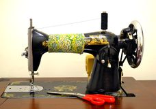 Antique Sewing Machine on white Stock Photo
