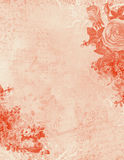 Antique Shabby Textured Floral Pink Background. Letterhead or wedding invitation Stock Photo