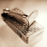 Antique shaving razor kit 2 Royalty Free Stock Image