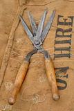 Antique shears on sack Royalty Free Stock Photography