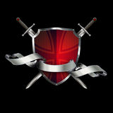 Antique shield with swords and ribbon. Stock Photos