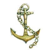 Antique ship anchor with chain. Royalty Free Stock Image
