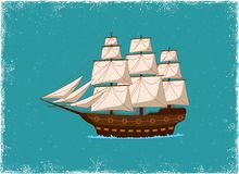 Antique Ship. In vintage vector style Stock Photography