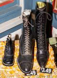 Antique shoes boots for ladies. Different very old shoes ladies and children royalty free stock photography