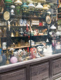 Antique shop. Show window of antique shop royalty free stock photo