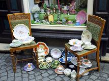 The Antique shop. A selection of antiques and collectibles outside a shop Stock Photo