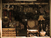 Antique Shop Display. A messy antique shop display in the old souk of Tripoli, Lebanon royalty free stock image