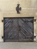 Antique shop door (or garage) in Riga Stock Images