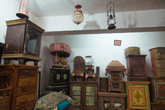 Antique shop interior. House of handicrafts (Antique shop) Goa. India Royalty Free Stock Images