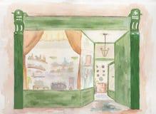 Antique shop. Original watercolour illustration of window of an antique shop Stock Image