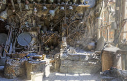 Antique shop in the village household items Lahij Azerbaijan. Travel stock image