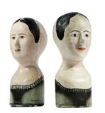 Antique shop wig stands. Old French antique shop front wig stands made in Paris 1878 collectable Stock Image