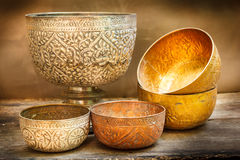 Antique silver bowl, vintage. Royalty Free Stock Photography