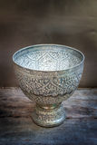 Antique silver bowl, vintage. Royalty Free Stock Photo