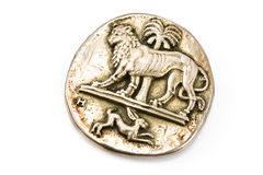 Antique silver brooch with lion and rabbit Stock Images