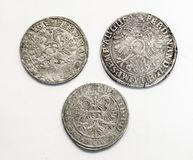 Antique silver coins thalers, middle ages.  royalty free stock photos