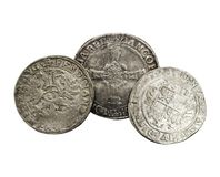 Antique silver coins thalers, middle ages.  royalty free stock photography