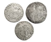 Antique silver coins thalers, middle ages.  stock photos