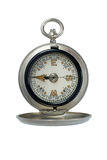 Antique silver compass. Isolated on white royalty free stock image