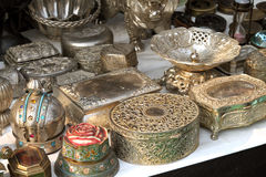 Antique silver containers Royalty Free Stock Image