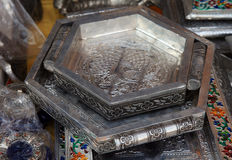 Antique silver crafted trays Royalty Free Stock Images