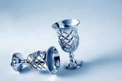 Antique silver cups Stock Photos