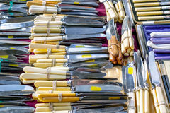 Antique silver cutlery on display at Old Spitalfields Market Stock Photography