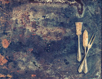 Antique silver cutlery. Old tableware Royalty Free Stock Images