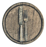 Antique silver cutlery and rustic wooden board. kitchen utensils Royalty Free Stock Photo