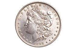 Antique silver dollar isolated Royalty Free Stock Image