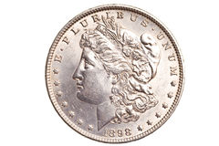 Antique silver dollar isolated Stock Photo