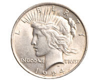 Antique silver dollar isolated stock image