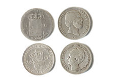 Antique silver dutch coins of 1847 and 1928 Stock Photo