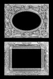 The antique silver frame on the black Royalty Free Stock Image
