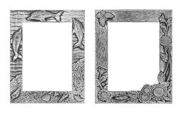Antique silver frame isolated on white background, clipping path. Dolphins and shells tracery and sunflower and butterfly tracery Royalty Free Stock Photo