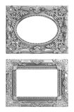 The antique silver frame on the white Royalty Free Stock Image