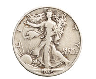 Antique silver half-dollar Royalty Free Stock Photo